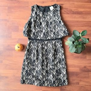 FOREVER 21 black taupe lace overlay dress size M